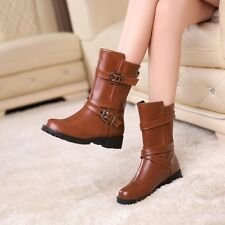 Fashion Women's Winter metal buckle shoes round toe block Mid half martin boots