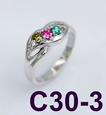 .925 STERLING SILVER- PERSONALIZED 3 BIRTHSTONES FAMILY MOM,DAUGTHER,SISTER RING