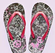 The Children's Place girl's pink pearl camouflage flip flops 10/11 & 12/13 NWT