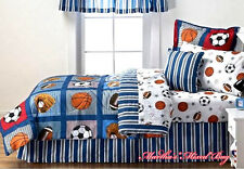 ALL SPORTS Boys Bedding Football Basketball Soccer Balls Baseball Comforter Set