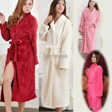 Women Lady Cosy Loose Long Sleepwear Comfortable Robes Coral Fleece Spa Bathrobe