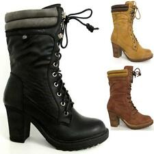 LADIES HIGH HEELS BOOTS WOMENS MID CALF BIKER COMBAT MILITARY ARMY BOOTS SIZE