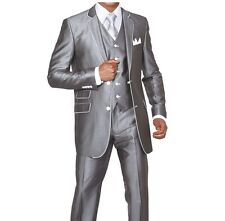 Men's 3pc Slim Fit Wool Feel Two Button Suit w/ Matching Vest Solid Gray