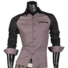 Jeansian Mens Dress Casual Shirts Tops Slim Fit Zip Lines 4 Colors 5 Sizes Z005