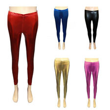 New Girls Wet Look Legging Kids Shiny PVC Dance Leggings Age 7 8 9 10 11 12 Year