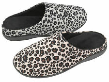 WOMENS DUNLOP LEOPARD PRINT MULES SLIP ON SLIPPERS FLAT LOW HEEL SHOE SIZE