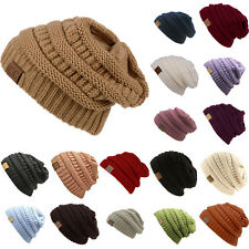 Men's Women's Chucky Soft Stretch Cable Knit Slouch Beanie Skully Ski Hat Unisex