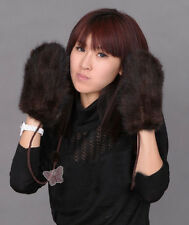 A233 New Real Knitted Farm Mink Fur 6  Color Winter Mittens Gloves Scarf