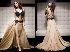 2014 Sexy Backless Evening dresses Applique Chiffon Formal Party Prom Gown