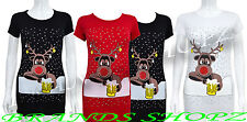 LADIES CHRISTMAS NOVELTY RUDOLPH &BELLS GIRLS XMAS TOP T-SHIRT SIZE S/M , M/L