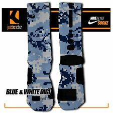 BLUE & WHITE DIGI CAMO Custom Nike Elite Socks basketball
