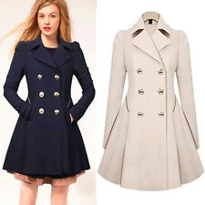 Womens Slim Coat Double Breasted Peacoat Lapel Long Outwear Slim Trench Coat New