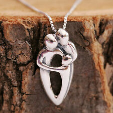 925 Sterling Silver Handcraft Family Mother Father kid Pendant Necklace With Box