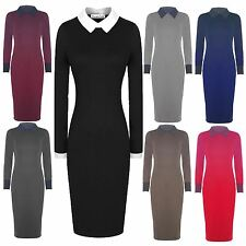 New Ladies Long Sleeve Collared Long Midi Dress Bodycon Pencil Dress 8-22