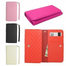 Quilted Wallet ID Card Holder Flip Case Pouch Cover for Sony