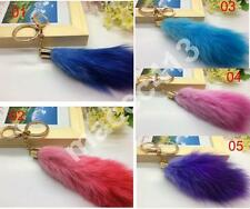 Fashion Natural Real Fox Fur Tail Keychain for Handbag Phone Charm DIY Accessory