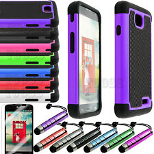 Rugged Hybrid Hard Case Cover For LG Optimus L70 MS323 MetroPCS Exceed 2 Verizon