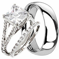 His Hers 3 pc Engagement Wedding Bridal Womens Rings Set and Mens Band Brand NEW
