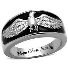MEN'S SILVER TONE STAINLESS STEEL USA AMERICAN EAGLE BIRD EPOXY RING SIZE 8 - 13
