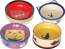 Cat Kitten Ceramic Bowl Dish Food Drink Water Feeding Dishes Bowls Choice of 4