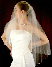 Sparkling Austrian Crystal Beaded Edge Fingertip Length Oval Cut Bridal Veil