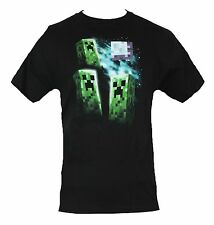 Minecraft Mens T-Shirt - Three Creeper Moon Image Black