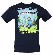 Minecraft Mens T-Shirt - Steve's Exploding Running Adventure Image Navy Blue
