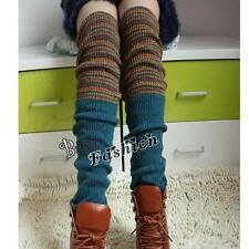 Fashion Pinstripe Rainbow Style Knit High Knee Leg Warmers Leggings Socks Gift
