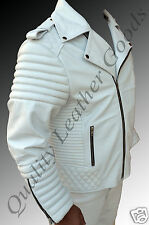GENUINE LEATHER VINTAGE 80's SEXY QUILTED ROCK BIKER JACKET PADDED WHITE 2XL