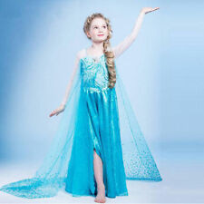 Frozen Elsa Princesse Fille Costume Robe Party Beaded Shawl Dress Cosplay Gown