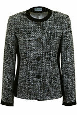 Busy Black & White Boucle Wool Blend Ladies Jacket