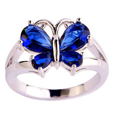 Shiny Animal Butterfly Sapphire Quartz Great Gems Silver Ring Size 6 7 8 9 10 11