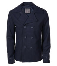 AERO Aeropostale Men Solid Peacoat Navy Pea Coat Jacket XS,S,M,L,XL,2XL,3XL Wool