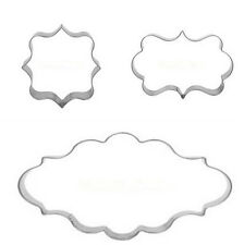 XI CA Plaque Cutter Cookie Frame Cake Oval Square Rectangle Stainless Steel Mold