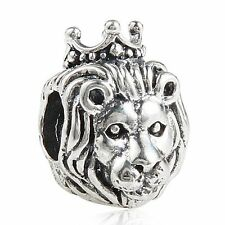 Sterling Silver 925 European Charm King Of The Jungle Lion w/ Crown Bead 99273
