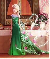FROZEN FEVER ELSA ANNA GREEN DRESS 2015 PRINCESS GIRLS KIDS COSTUME QUEEN PARTY