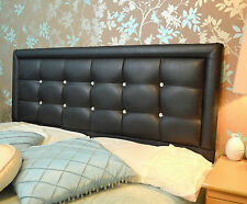 Stylish Leather Crystal Diamante Headboard Bed Home Bedroom Furniture Fabric