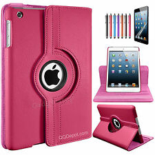 Rotating Leather Smart Case Cover w/Kickstand for iPad Air iPad 5 5G Rose Pink