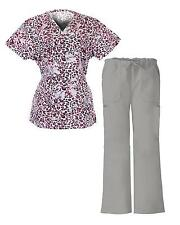 G Med Women's 2 Pieces Printed Scrub Mock Wrap Top and Pant Set