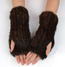 Real Farm Knitted Mink Fur 3 Color Winter Mittens Gloves Christmas Gift