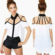 Stylish Women Sexy Off Shoulder Chiffon Hollow Out Backless Tops T-Shirt Blouse