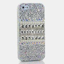 iPhone 6 6S / 6S Plus 5S Bling Crystals Case Cover Silver Pearl Luxur Frontplate