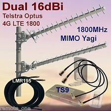 Dual 16dBi 4G MIMO 1800MHz Yagi Antenna Kit inc Low Loss Coax and TS9 Patch Lead