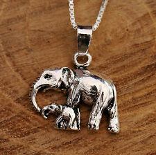 925 Sterling Silver 3D Mother Baby Elephant Pendant Chain Necklace With Gift Box