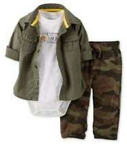 Carter's NB 3 6 9 12 18 24 Camo army shirt bodysuit set Baby Boy Clothes Outfit