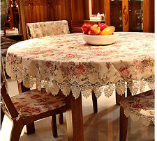 "90"" Round Cotton Table Cloth Table Cover Floral Printing For Kitchen146"