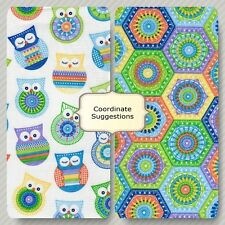 CROCHET OWLS OR HEXAGONS Cotton Fabric  You  Choose By the Yard