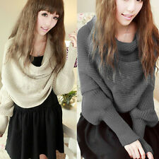 Warm women Infinity Knit Cowl Neck Crochet Long Wrap Shawl Scarves With Sleeve#