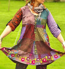 ♥ ~ DELICIOUS NEW PATCHWORK TUNIC UK SIZE 10 12 14 16 HIPPIE BOHO  TOP DRESS ~ ♥