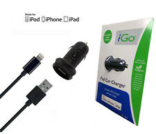 Original iGo Rapid 2.1 amp Car Charger w/Lightning to USB Sync Cable For iPhone